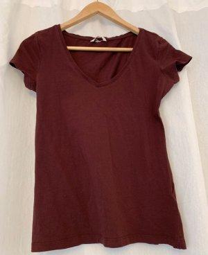 H&M Basic T-shirt col en V bordeau