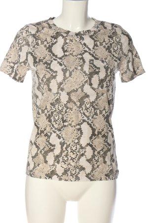 H&M T-Shirt creme-hellgrau Allover-Druck Casual-Look
