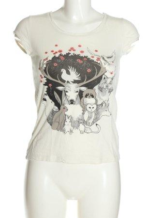 H&M T-Shirt weiß-schwarz Motivdruck Casual-Look