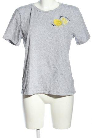 H&M T-shirt jasnoszary-bladożółty Melanżowy W stylu casual