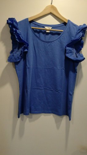 H&M T-shirt niebieski neonowy Bawełna
