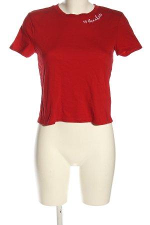 H&M T-Shirt rot Schriftzug gestickt Casual-Look
