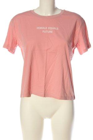 H&M Camiseta rosa-blanco estampado temático look casual
