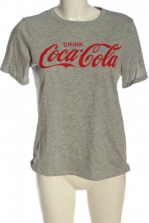 H&M T-Shirt hellgrau-rot meliert Casual-Look