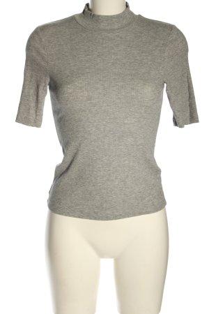 H&M Prążkowana koszulka jasnoszary Melanżowy W stylu casual
