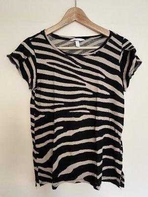 H&M T-Shirt Business schwarz beige