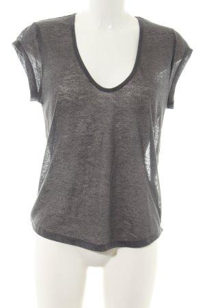 H&M T-Shirt hellgrau meliert Glanz-Optik