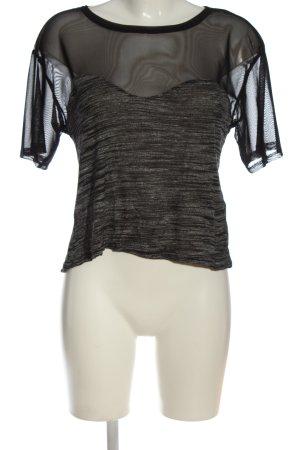 H&M T-Shirt schwarz-hellgrau meliert Casual-Look