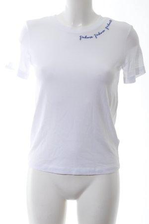 H&M T-Shirt weiß-blau Schriftzug gestickt Casual-Look