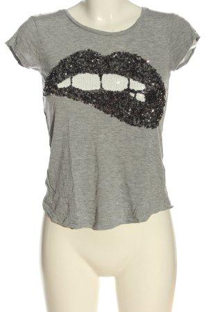 H&M T-Shirt hellgrau Motivdruck Casual-Look