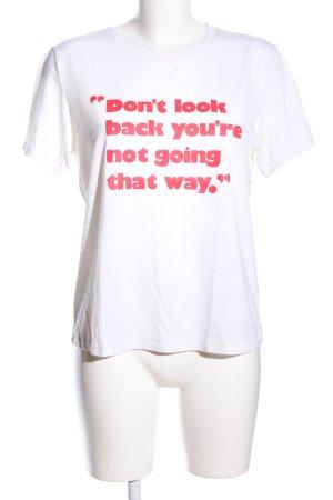 H&M T-Shirt weiß-rot Schriftzug gedruckt Casual-Look
