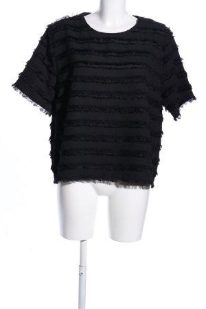 H&M T-Shirt schwarz Streifenmuster Elegant