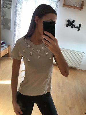H&M T-Shirt mit Perlenstickerei S