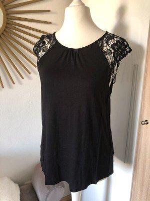 H&M T-Shirt mit Spitzen-Ärmeln schwarz, Gr. L