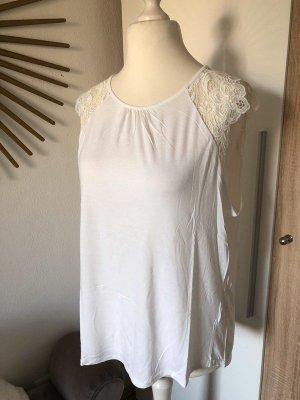H&M T-Shirt mit Spitzen-Ärmeln weiß, Gr. L