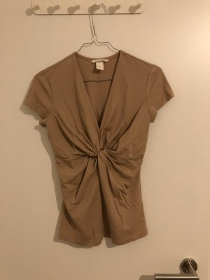 H&M T-Shirt mit V-Ausschnitt und Knoten in der Mitte