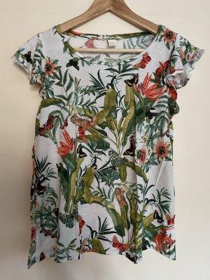 H&M T-Shirt S 36 Dschungel Schmetterlinge Volants
