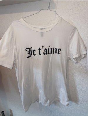 H&M T-shirt imprimé blanc-noir