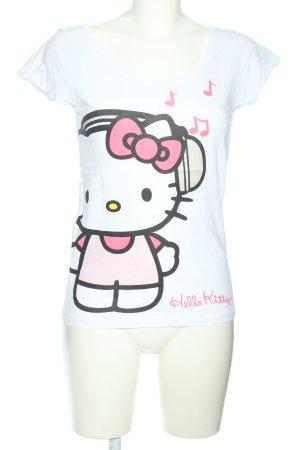 H&M T-Shirt weiß-pink Motivdruck Casual-Look