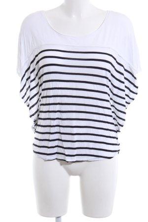 H&M T-shirt biały-czarny Wzór w paski W stylu casual