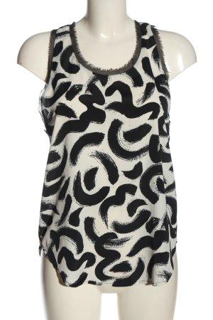 H&M Tanktop wit-zwart abstract patroon casual uitstraling