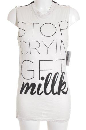 H&M Tanktop schwarz-weiß Schriftzug gedruckt Street-Fashion-Look
