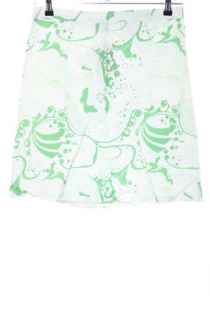 H&M Tellerrock weiß-grün abstraktes Muster Casual-Look