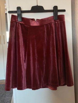 H&M Falda circular rojo amarronado-burdeos