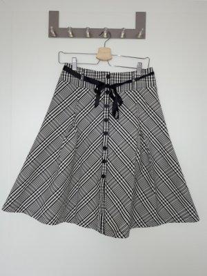 H&M Basic Spódnica z koła biały-czarny Bawełna
