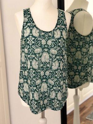 H&M Conscious Collection Camiseta sin mangas verde oscuro-blanco puro