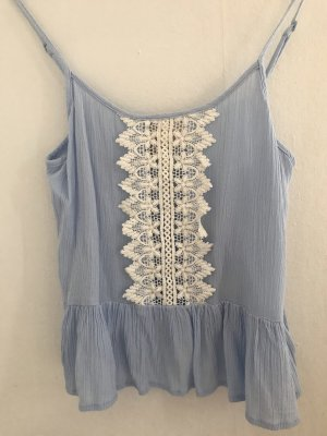 H&M Top z cienkimi ramiączkami błękitny-biały