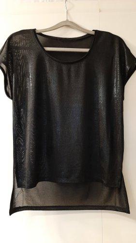 H&M Top mit Glanzeffekt Kurzarm transparent schwarz Gr. 38