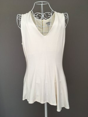 H&M Top peplum blanco puro-color oro