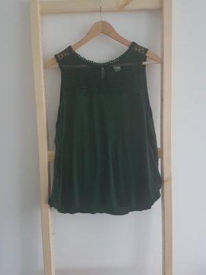 H&M Long Top dark green viscose