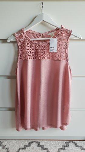 H&M Top • Shirt ärmellos • Spitze • Rosa/Puder • Neu m. E.