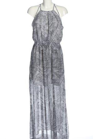 H&M Maxikleid weiß-schwarz abstraktes Muster Elegant