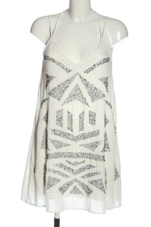 H&M Trägerkleid weiß-silberfarben grafisches Muster Casual-Look