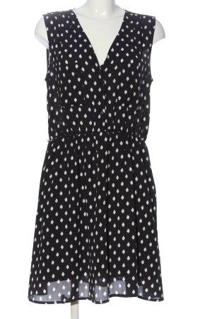 H&M Chiffonkleid schwarz-weiß Punktemuster Casual-Look