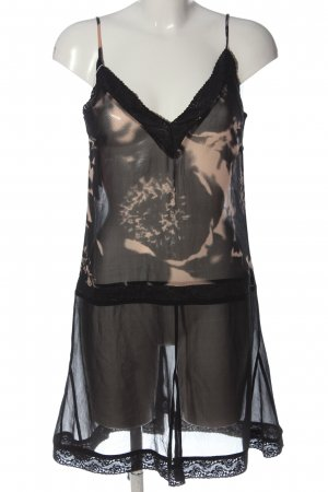 H&M Trägerkleid schwarz-creme abstraktes Muster Elegant
