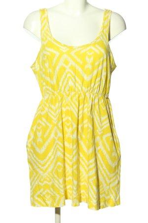 H&M Sommerkleid blassgelb-weiß grafisches Muster Casual-Look