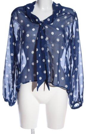 H&M Transparenz-Bluse blau-weiß Allover-Druck Elegant