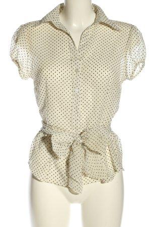 H&M Transparenz-Bluse wollweiß-schwarz Punktemuster Casual-Look
