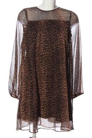 H&M Chiffon jurk bruin-zwart luipaardprint casual uitstraling