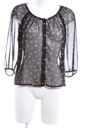 H&M Transparenz-Bluse schwarz-creme Punktemuster Elegant