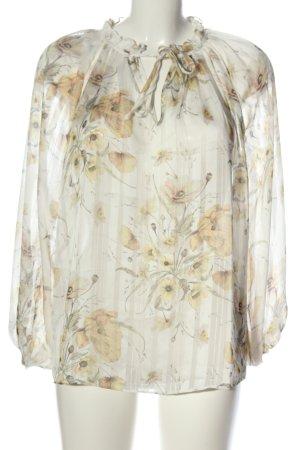 H&M Transparante blouse room-licht Oranje bloemenprint casual uitstraling