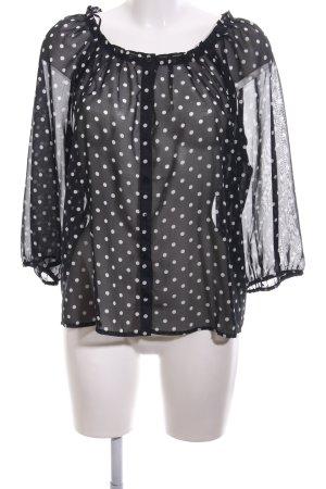 H&M Transparenz-Bluse schwarz-weiß Allover-Druck Business-Look