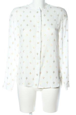 H&M Transparenz-Bluse weiß-goldfarben Allover-Druck Elegant