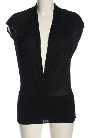 H&M Kurzarm-Bluse schwarz Zopfmuster Casual-Look