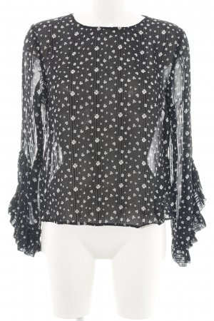 H&M Transparenz-Bluse schwarz-wollweiß Allover-Druck Business-Look
