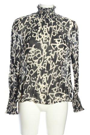 H&M Transparenz-Bluse schwarz-wollweiß abstraktes Muster Business-Look
